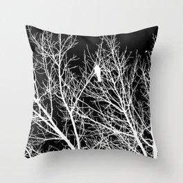 Modern Contemporary Black and White Tree Bird Art A539 Throw Pillow