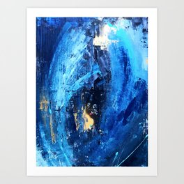 Vortex: a vibrant, blue and gold abstract mixed-media piece Art Print