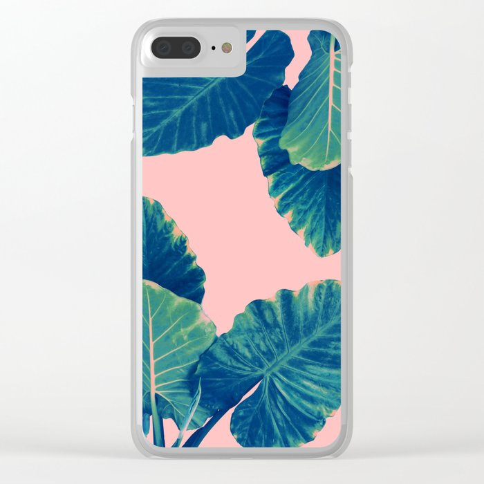 Greenery on Blush Clear iPhone Case