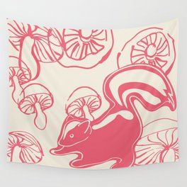 skunk with mushrooms Wall Tapestry