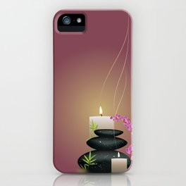 Pebbles with orchid iPhone Case