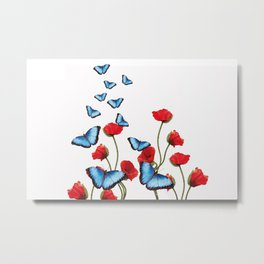 red poppies Flowers with blue butterflies Metal Print