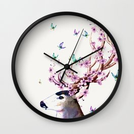 Deer and Flowers II Wall Clock