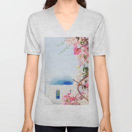 Santorini Greece Mamma Mia pink flowers travel photography in hd. Unisex V-Neck