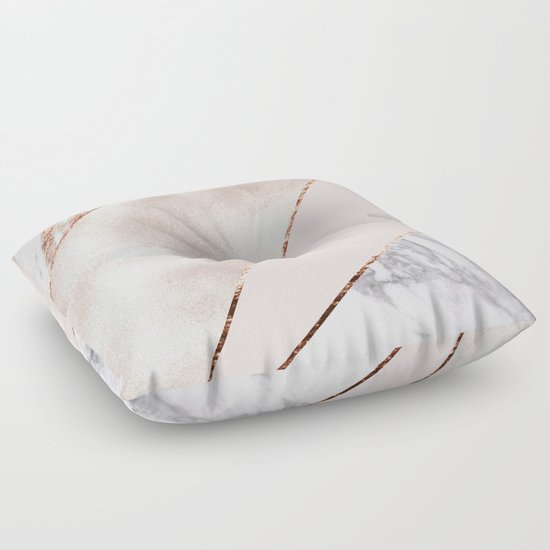 Gold Floor Pillows : Spliced mixed rose gold marble Floor Pillow by Marbleco Society6