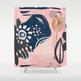 Abstract Leaves and Flowers VI Shower Curtain
