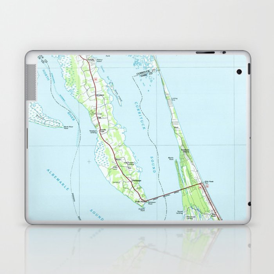 Northern Outer Banks North Carolina Map (1985) Laptop & iPad Skin by  bravuramedia