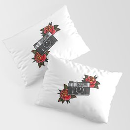 Retro analog camera with flower decoration Pillow Sham