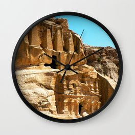 Sandstone Tombs of Petra Rose City Wall Clock