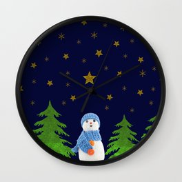 Sparkly gold stars, snowman and green tree Wall Clock