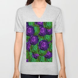 blooming rose texture pattern abstract background in purple and green Unisex V-Neck