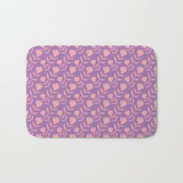 Elegant classy delicate distressed rose flowers pattern. Retro vintage heather faded purple floral Bath Mat