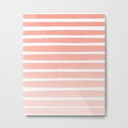 Stripes minimal ombre pattern basic nursery office dorm canvas wall art Metal Print