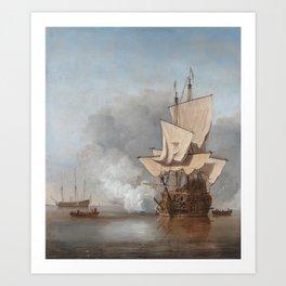 Man-Of-War Firing A Cannon Shot Art Print