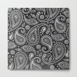 White sketches floral paisley on black bacground Metal Print