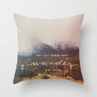 wander Throw Pillows featuring wander by ashes