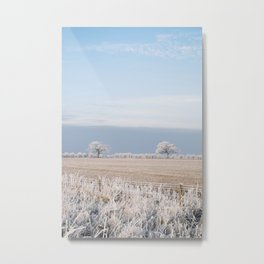 Rural scene covered in a thick hoar frost. Norfolk, UK. Metal Print