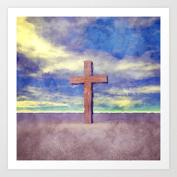 Christian Cross Landscape Art Print
