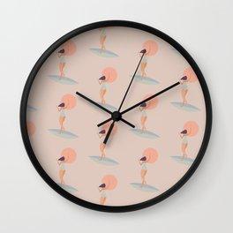 Surf girl with sun Wall Clock