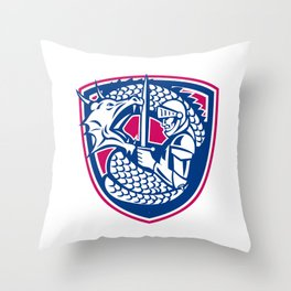 Dragon and Knight Fighting Crest Throw Pillow