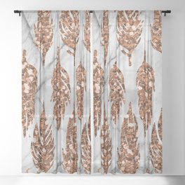 Rose gold art deco feather Sheer Curtain