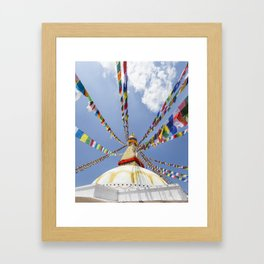 Tibetan prayer flags at Boudha stupa in Kathmandu, Nepal Framed Art Print