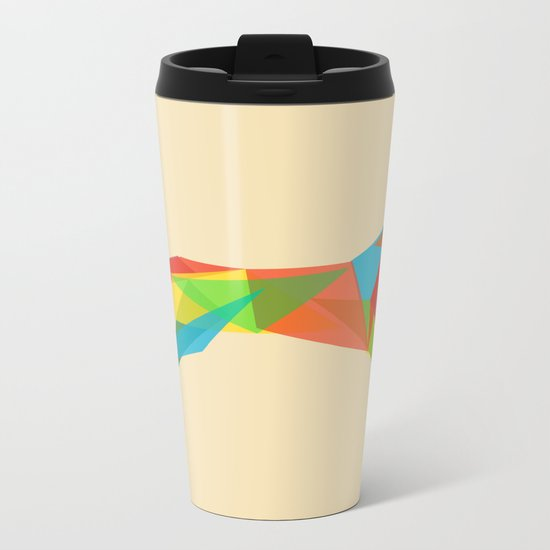 Fractal Geometric Dog Metal Travel Mug