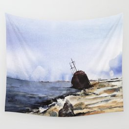 Wreckage on seashore Wall Tapestry