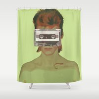 aladdin Shower Curtains featuring Taped Over Aladdin Sane by AudioVisuals