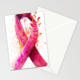 Breast Cancer Ribbon Stationery Cards