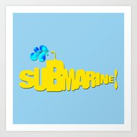 yellow submarine Art Prints featuring Yellow Submarine by Tali Rachelle