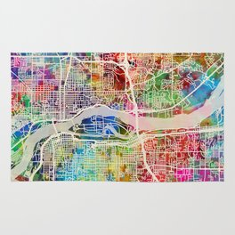 Quad Cities Street Map Rug