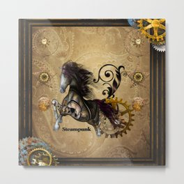 Wild steampunk horse with clocks and gears Metal Print