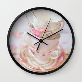 Shabby Chic Vintage Cups in Pink Wall Clock