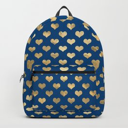 Cute Blue and Gold Heart Pattern Backpack
