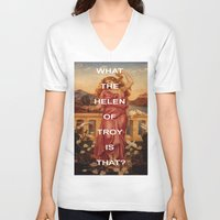 helen V-neck T-shirts featuring Triple Helen by Beastie Boys Art History