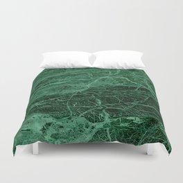 Dark emerald marble texture Duvet Cover