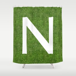 N initial letter alphabet on the grass Shower Curtain