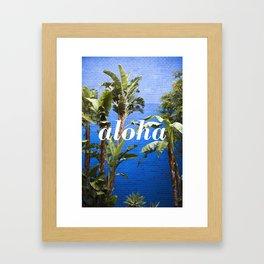 Aloha on Blue & Palms Framed Art Print
