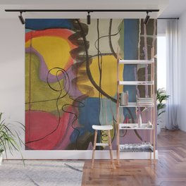 Crazy Mad World Multi Colored Abstract Wall Mural