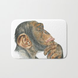 Chimp Deep in Thought Bath Mat