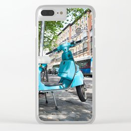 Vintage scooter on street Clear iPhone Case