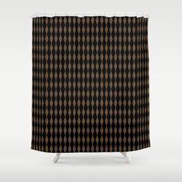 Black with Brown Textured Diamonds Pattern Shower Curtain