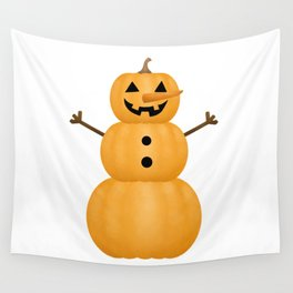 Pumpkin Snowman Wall Tapestry