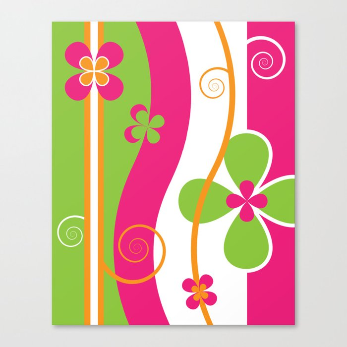 Colorful Spring Floral Graphic Art II Canvas Print