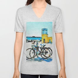 Pescara: bicycles with old and new station buildings Unisex V-Neck