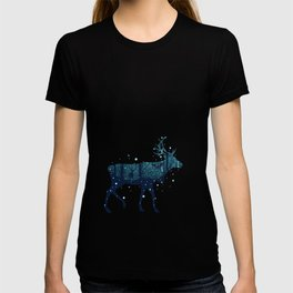 Walking deer silhouette with forest T-shirt