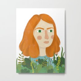 A girl and her plants Metal Print