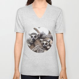 Lemur catta animals Unisex V-Neck