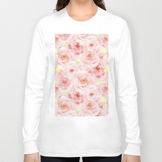 Rose pattern- Beautiful watercolor roses background Long Sleeve T-shirt